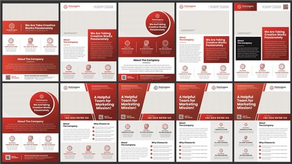 a bundle of 10 templates of corporate a4 flyer template, modern template, in red gradient color, and modern design, perfect for creative professional business