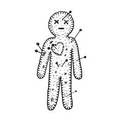 Voodoo doll engraving vector illustration