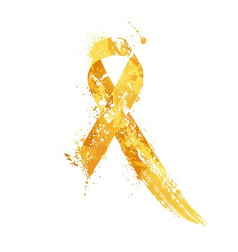 Childhood Cancer Awareness Ribbon. Watercolor yellow ribbon, childhood cancer awareness symbol, isolated on white. Vector illustration
