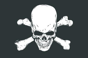 Hand drawn realistic human skull and bones. Monochrome vector illustration on black background.