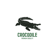 crocodile logo template. Symbol of alligator, Crocodile with text. Wild animal typography badge design. Vintage hand drawn insignia. Stock vector illustration isolated on white background