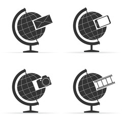 Set of Globes. Information concept. Vector illustration