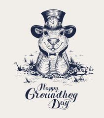 Happy Groundhog Day lettering text for greeting card. Funny marmot in hat gets out of hole and looks forward
