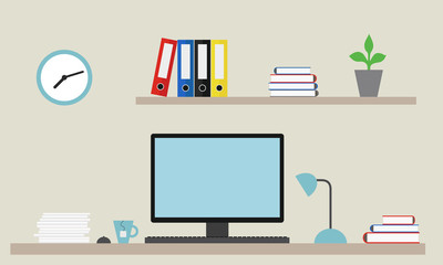 Vector illustration of an office with equipment as a job for a manager