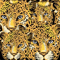Leopard seamless pattern. Vector illustration on black background