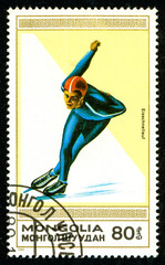 Ukraine - circa 2018: A postage stamp printed in Mongolia shows drawing Speed skating. Series: Winter sports. Circa 1989.