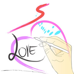 drawing painting brush heart love and hand