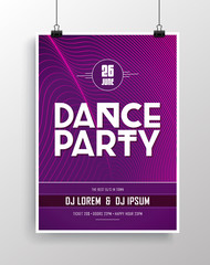 Vector dance party flyer design with eye-catching background.