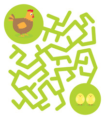 Easter/spring maze game for children with cute chicken
