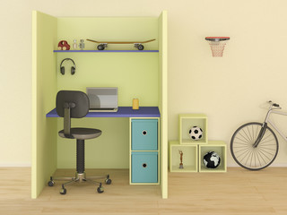 Children's room with modern desk, 3D Rendering