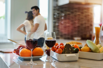 grasses of wine prepare to celebrate on anniversary of couple lover in an occasion of honeymoon and valentime day