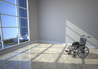 Wheel chair in the room with sun lights, 3D Illustration