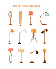 Set of colorful cartoon floor lamps light