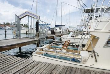 Deep sea fishing boats moored at the port of Aruba