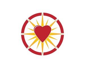 Star heart logo design template