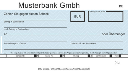 Vektor-Musterbank mit modernem Design. Original check - blanko blue. Blankoüberprüfung mit freiem Platz für Ihren Text.