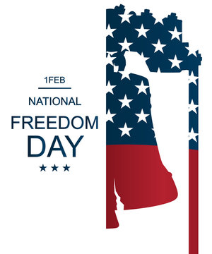 USA flag as background with Liberty Bell silhouette. Poster or banners –  on National Freedom Day! - February 1st.