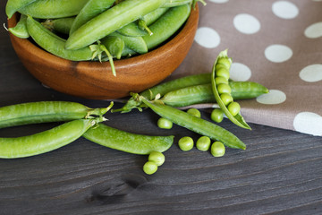 Green pea. The concept of healthy eating.