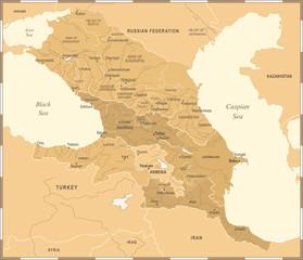 Caucasus Region Map - Vintage Vector Illustration