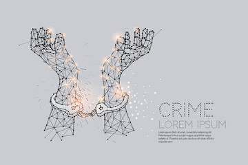 The particles, geometric art, line and dot of hand with handcuff