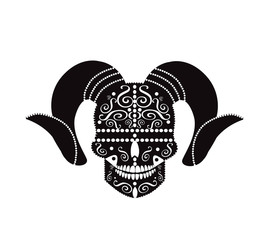 Devil skull with Aries horns, ornament symbol icon background