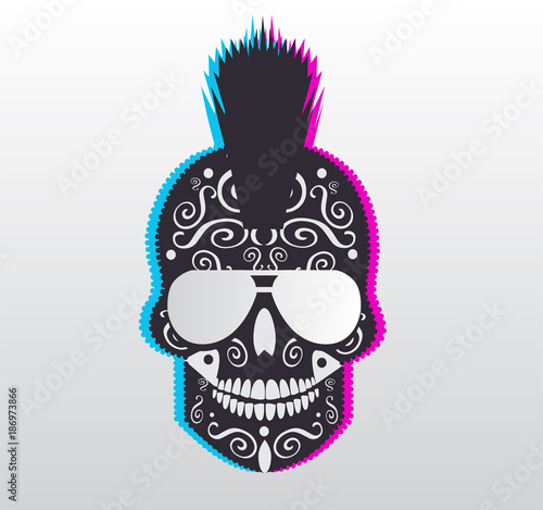 fb0ee6571c85 Punk skull 3D with sunglasses and Mohawk