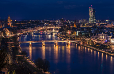 Germany, Frankfurt, Cityview and River Main at night