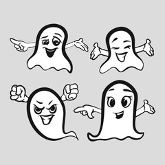 Set of emotional ghosts with hands