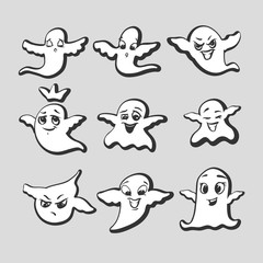 Set of emotional ghosts