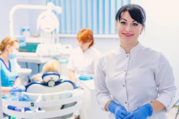 Dentist in the dental clinic.