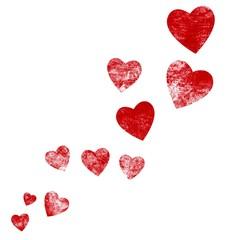 Rote isolierte grunge Herzen