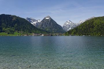 Austria, Tyrol, Achensee in alpine landscape