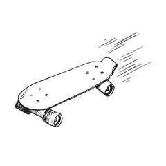 Skateboard, hand drawn doodle sketch, isolated vector outline illustration