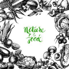 Vintage hand drawn sketch vegetables background. Eco food design. Vector illustration