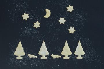 Christmas cookies and iced sugar on baking tray, Christmas time