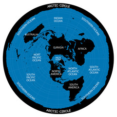 Conceptual vector scheme. Map of the flat Earth theory