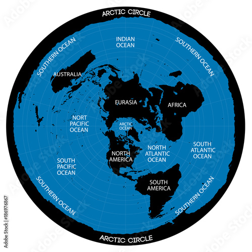 Conceptual vector scheme map of the flat earth theory stock image map of the flat earth theory gumiabroncs Gallery