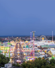 Germany, Munich, Oktoberfest overview at twilight