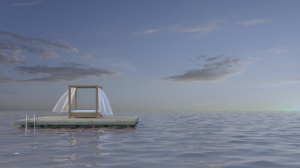 Canopy bed on platform in the sea, 3d rendering