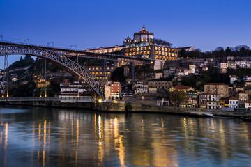 Portugal, Porto, Luiz I Bridge and Douro river, Mosteiro da Serra do Pilar in the evening