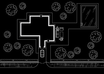 Linear architectural sketch general plan individual house on black background