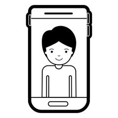 smartphone guy profile picture with short hair in black silhouette with thick contour