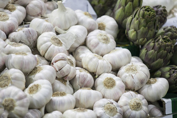 Garlic and artichokes on the Borough market in London