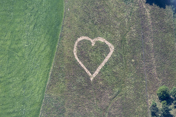 Aerial view of heart in meadow