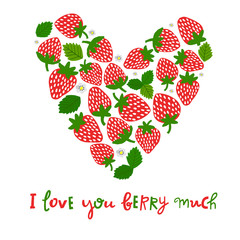 Vector cute strawberry plant and berry. Cartoon illustration with lettering, word. typography