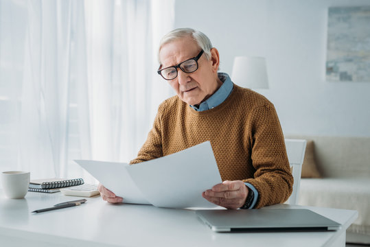 Senior businessman working with report papers