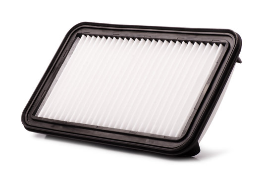 Flat engine air filter in a plastic case