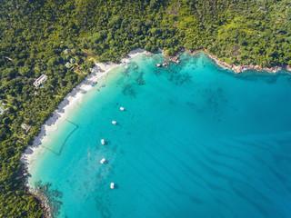 Seychelles, Praslin, Anse Lazio, beach and fishing net, aerial view