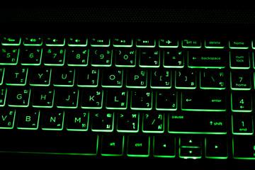 Green neon color keyboard gaming.