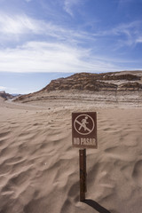 Chile, San Pedro de Atacama, no trepassing sign in Atacama desert